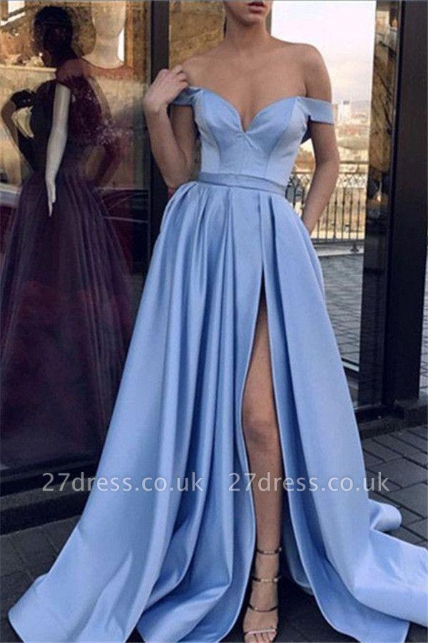 Sexy Off-the-Shoulder Sleeveless Prom Dress UKes UK Side Slit Elegant Evening Dress UKes UK Sexy