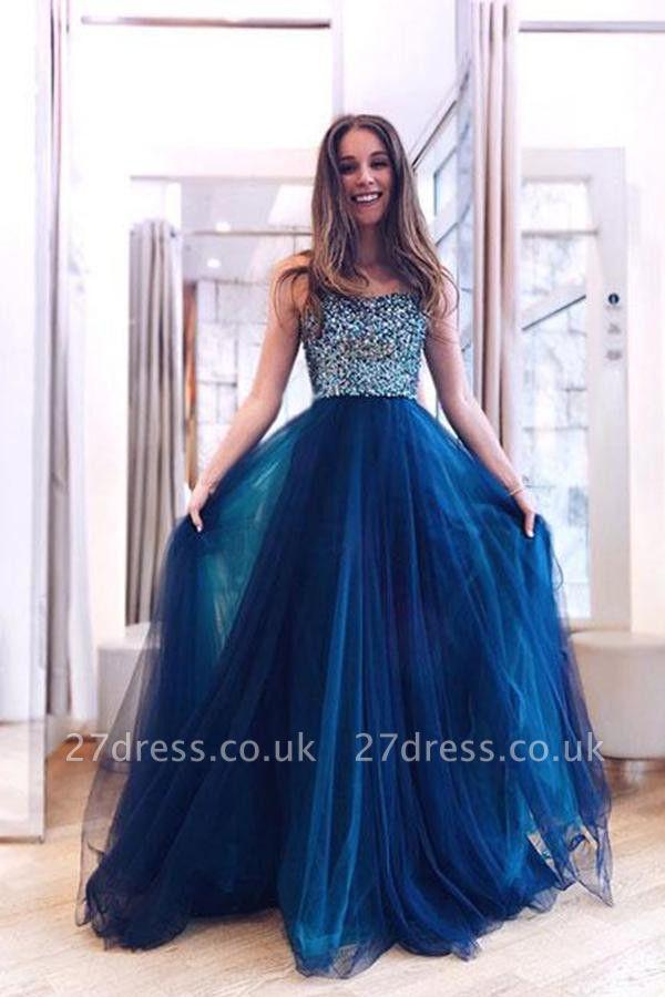 Sexy Straps Crystal Lace Appliques Prom Dress UKes UK Sheer Sleeveless Evening Dress UKes UK