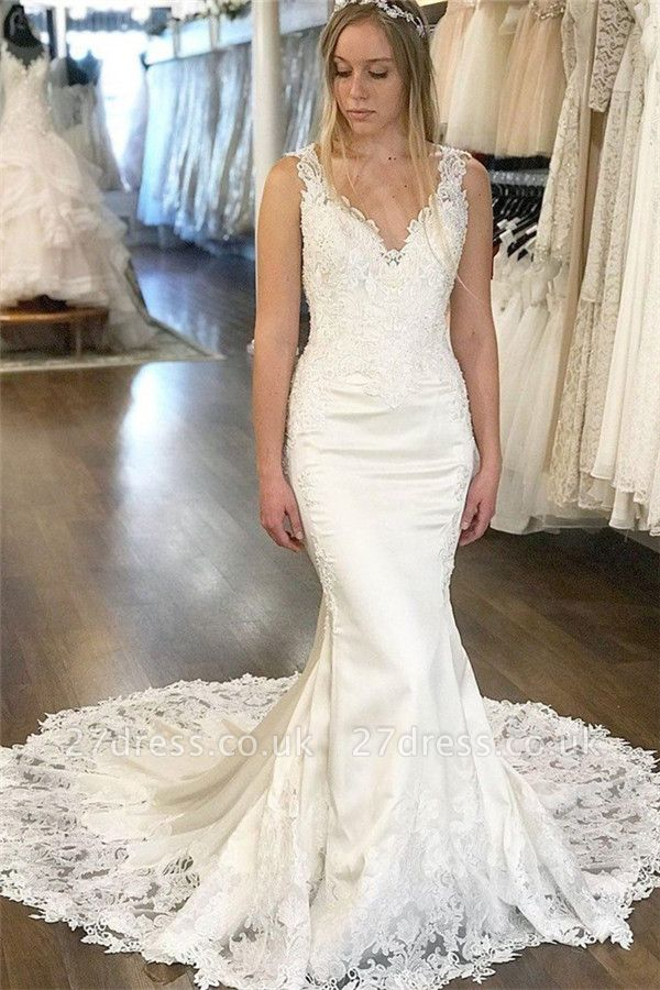 Elegant V-Neck Appliques Wedding Dresses UK | Sleeveless Backless  Sexy Mermaid Floral Bridal Gowns