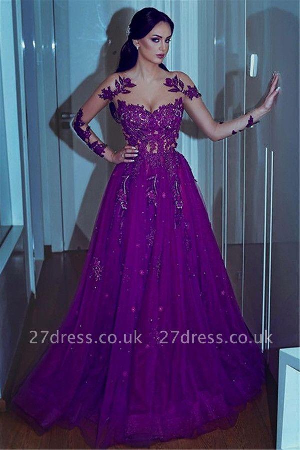 Sexy Sweetheart Applique Lace Prom Dress UKes UK Long Sleeves Elegant Evening Dress UKes UK with Beads