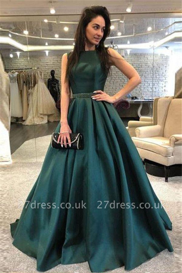 Dark-Green Open Back Prom Dress UKes UK Sleeveless Beads Elegant Evening Dress UKes UK