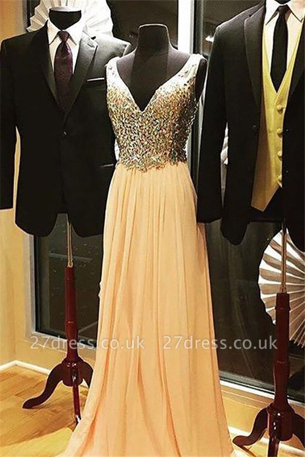 Elegant V-Neck Crystal Tulle Prom Dress UKes UK Sleeveless Popular Sexy Evening Dress UKes UK