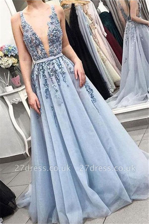 Elegant V-Neck Lace Appliques Ruffles Prom Dress UKes UK Tulle Sleeveless Evening Dress UKes UK with Beads