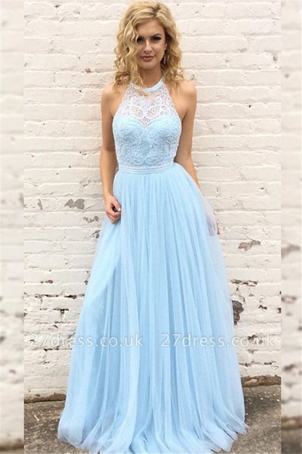 Sexy Lace Halter Prom Dress UKes UK Sleeveless Tulle Elegant Evening Dress UKes UK with Sash Sexy