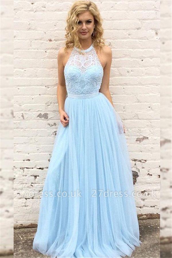 Sexy Lace Halter Prom Dress UKes UK Sleeveless Tulle Elegant Evening Dress UKes UK with Sash Sexy