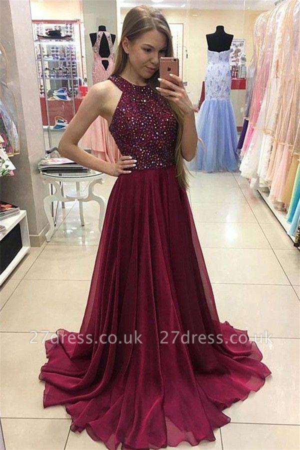 Sexy Crystal Jewel Prom Dress UKes UK Sheer Sleeveless Evening Dress UKes UK