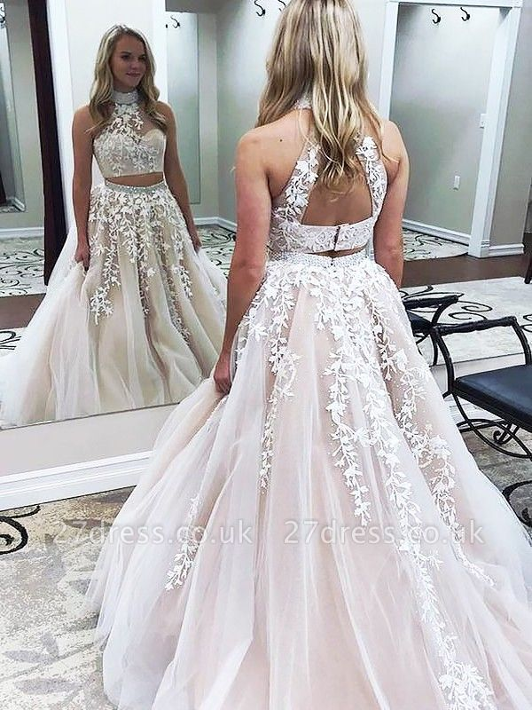Sexy Halter Two Piece Lace Appliques Prom Dress UKes UK Lace Up Crystal Evening Dress UKes UK with Beads