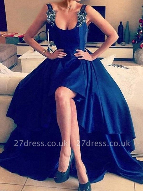 Royal Blue 3-D Flower Crystal Prom Dress UKes UK Hi-lo Open Back Elegant Evening Dress UKes UK with Beads
