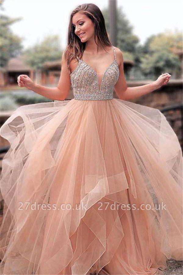 Romactic Pink Spaghetti Strap Crystal Prom Dress UKes UK Sleeveless Tulle Elegant Evening Dress UKes UK Sexy