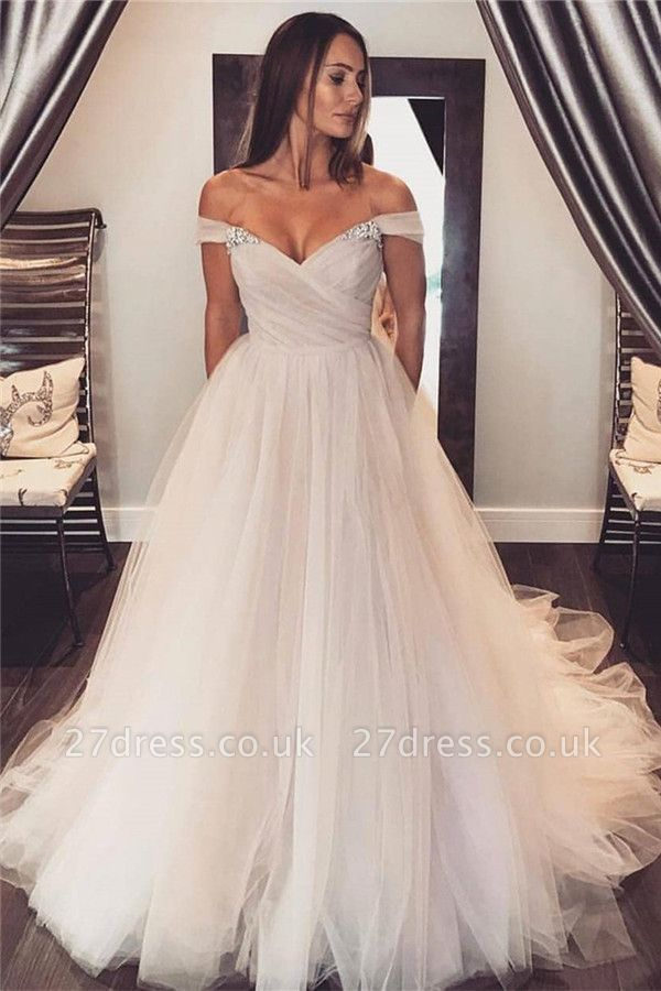 Glamourous Sheer Cheap Crystal Wedding Dresses UK Ruffles Sleeveless Floral Bridal Gowns