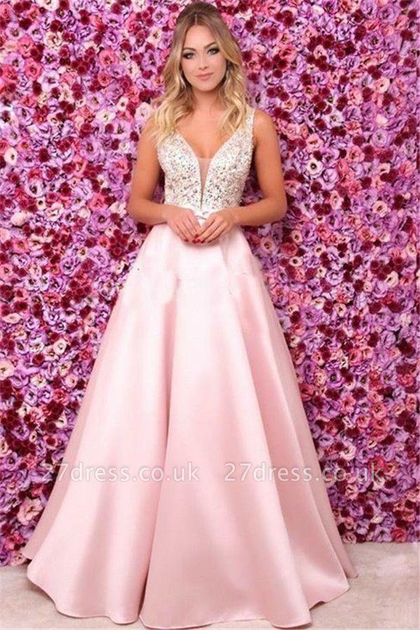 Pink Elegant V-Neck Sequins Ruffles Prom Dress UKes UK Open Back Sleeveless Evening Dress UKes UK