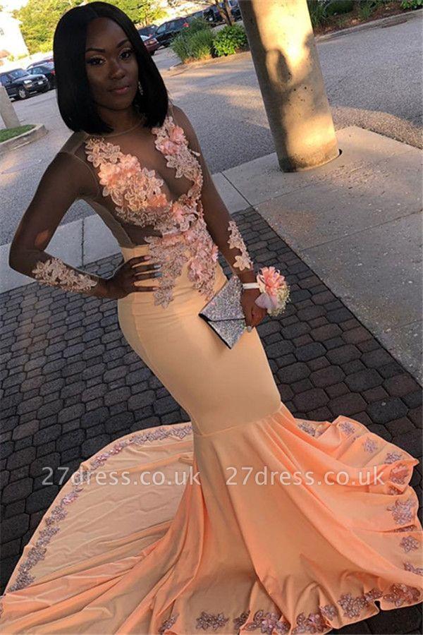 Orange Sheer Tulle Floral Lace Appliques Long-Sleeves Elegant Trumpt Prom Dress UKes UK UK