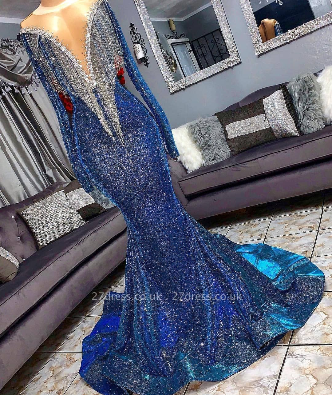 Luxurious Sequins Long Sleeves Elegant Mermaid Sheer Neckline Prom Dress UK UKes UK