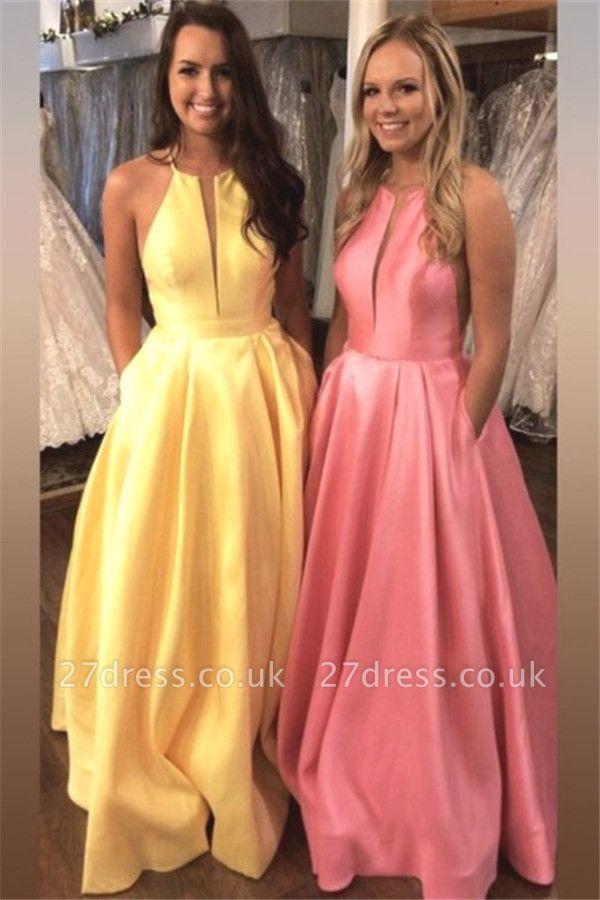 Sexy Halter Ruffles Prom Dress UKes UK Sleeveless Elegant Evening Dress UKes UK with Pocket Sexy