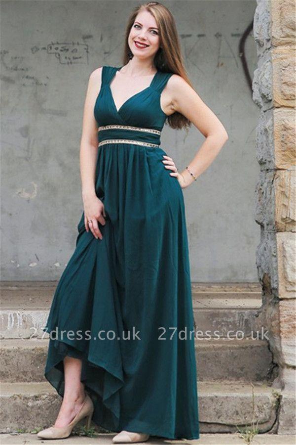 Sexy Elegant V-Neck Open Back Prom Dress UKes UK Sleeveless Elegant Evening Dress UKes UK with Sash