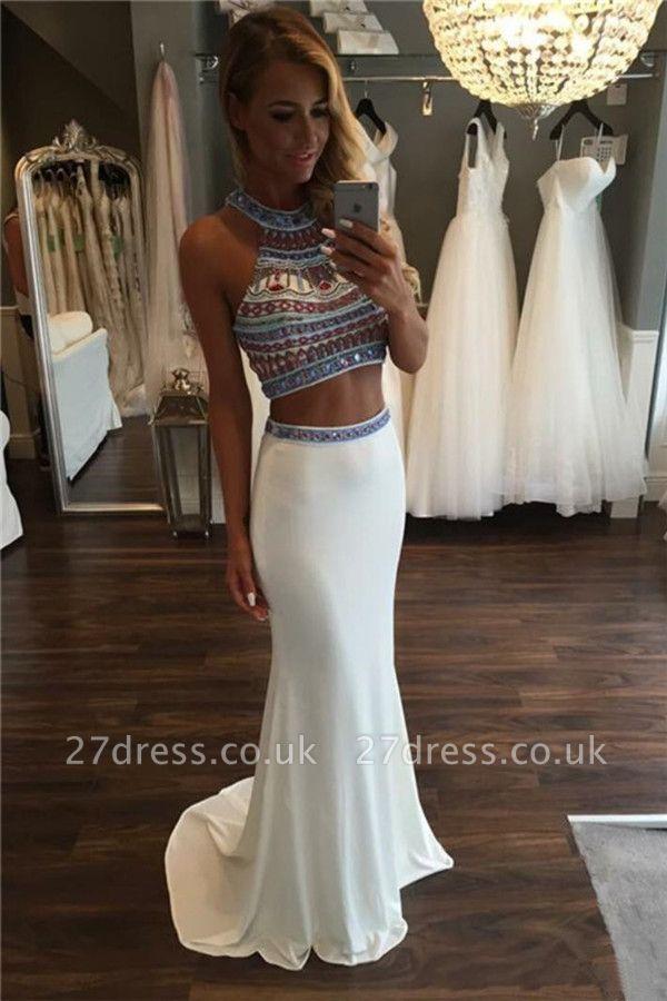 Halter Crystal Two Piece Prom Dress UKes UK Mermaid Sleeveless Elegant Evening Dress UKes UK