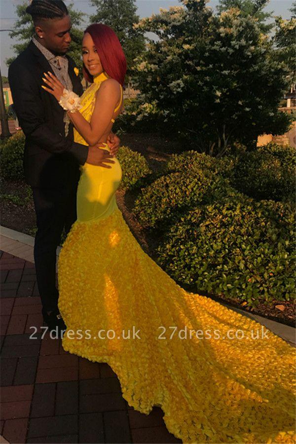 Yellow Halter Backless Sleeveless Lace Applique Elegant Trumpt Evening Dress UKes UK