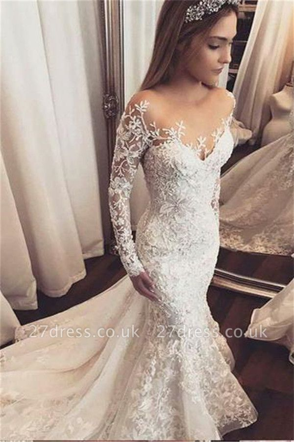 Gorgeous Beads Appliques Off-the-Shoulder Wedding Dresses UK | Ruffles Sheer Longsleeves Floral Bridal Gowns