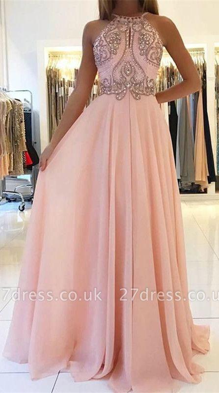 Romactic Pink Halter Applique Prom Dress UKes UK Sleeveless Open Back Elegant Evening Dress UKes UK With Crystal