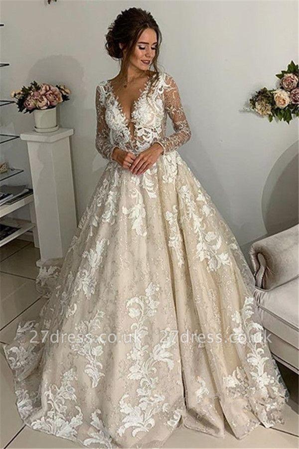 Elegant Lace Appliques V-Neck Wedding Dresses UK | Sheer Long Sleeves Backless Floral Bridal Gowns