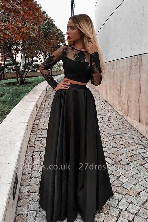 Sexy jewel Lace Appliques Prom Dress UKes UK Two Piece Longsleeves Evening Dress UKes UK