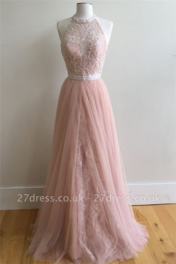 Sexy Lace Appliques Overskirt halter Prom Dress UKes UK Sleeveless Evening Dress UKes UK with Beads