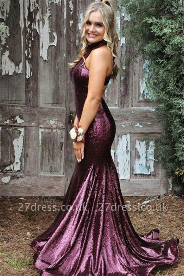 Sequin Halter Ruffles Prom Dress UKes UK Side slit Mermaid Sleeveless Evening Dress UKes UK
