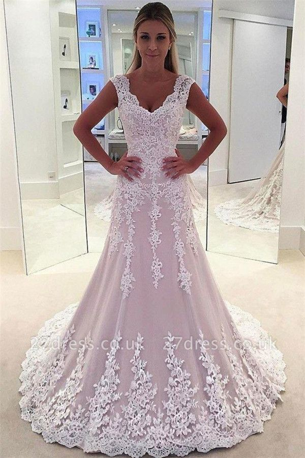 Lovely Pink Appliques Wedding Dresses UK   Sleeveless Floral Bridal Gowns