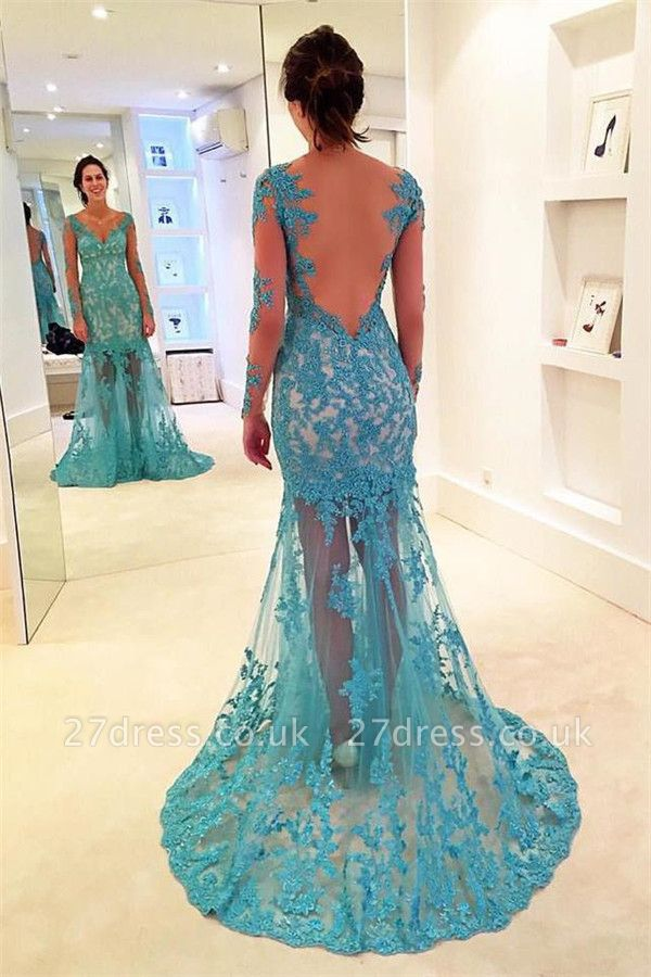 Sexy Lace Appliques Elegant V-Neck Prom Dress UKes UK Bacless Mermaid Longsleeves Evening Dress UKes UK