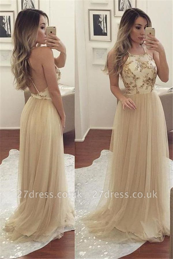 Sexy Halter Sequins Lace Appliques Prom Dress UKes UK Backless Sheer Sleeveless Evening Dress UKes UK