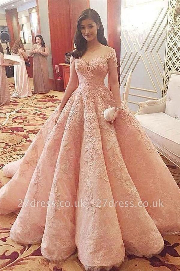 Sexy Sequins Off-the-Shoulder Lace Appliques Prom Dress UKes UK Ball Gown Cap Sleeves Evening Dress UKes UK