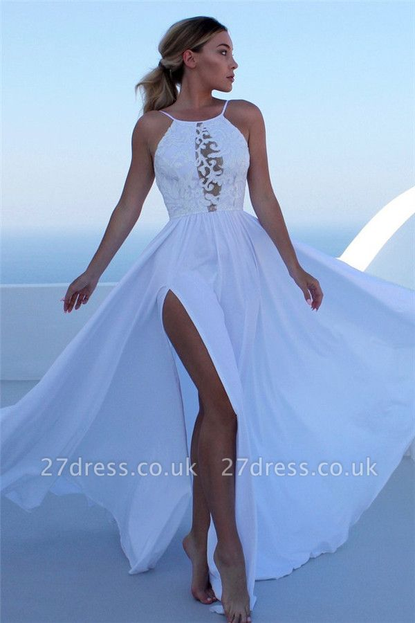 Sexy Lace Appliques Halter Prom Dress UKes UK Side slit Sleeveless Evening Dress UKes UK with Keyhole