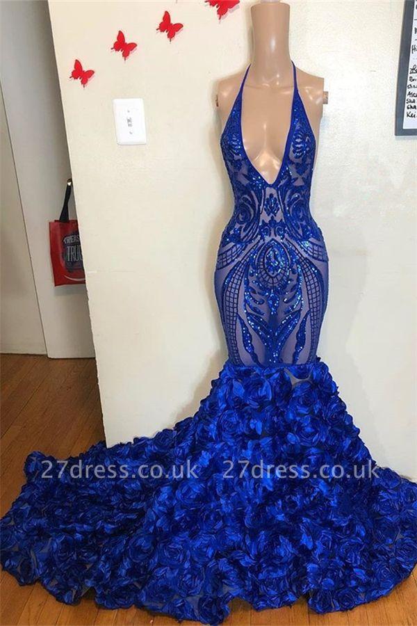 Halter Alluring V-Neck Sequins Flower Button Elegant Mermaid Prom Dress UK UKes UK