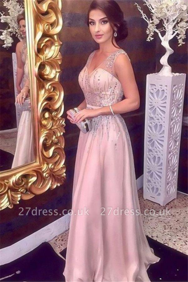 Sexy Pink Sequins Elegant V-Neck Prom Dress UKes UK Sleeveless Elegant Evening Dress UKes UK with Sash Sexy