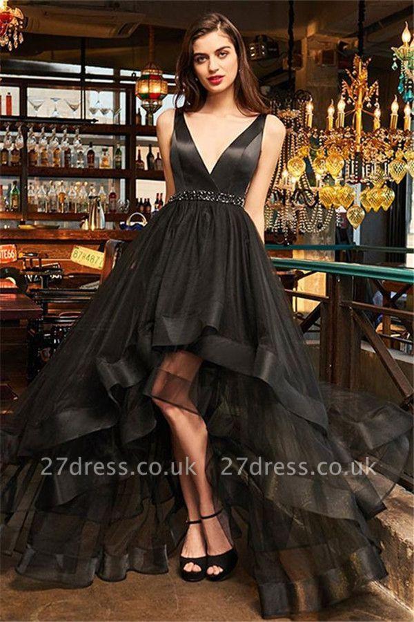 Black Elegant V-Neck Ruffles Crystal Prom Dress UKes UK Hi-Lo Open Back Sleeveless Elegant Evening Dress UKes UK