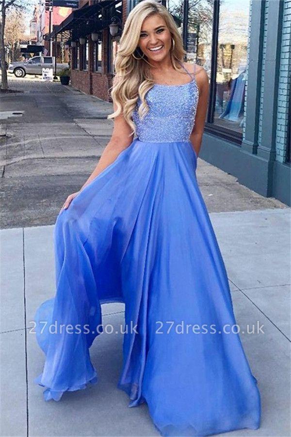 Sexy Blue Sequins Halter Prom Dress UKes UK Sleeveless Sexy Elegant Evening Dress UKes UK