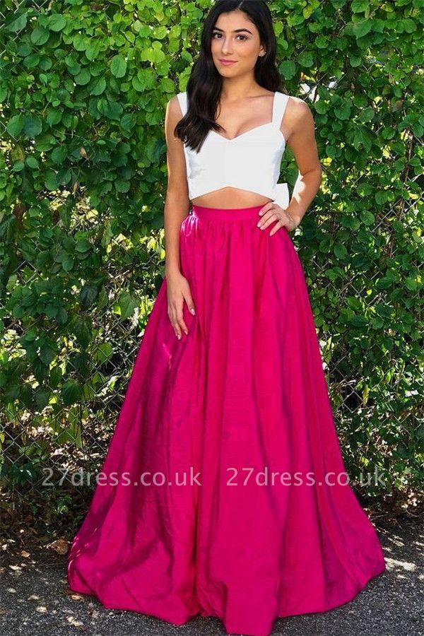 Straps Simple Sleeveless Prom Dress UKes UK Two Piece  Sexy Evening Dress UKes UK