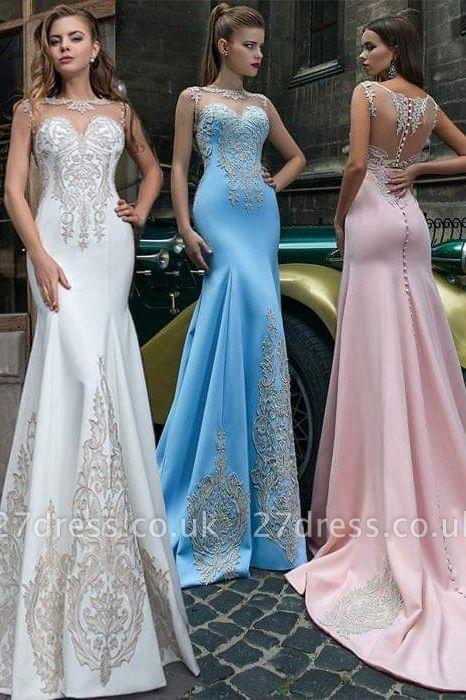 Sweet Pink Illusion Neckline Formal Dress UKes UK, Sky Blue Sheer Formal Dress UKes UK Online Sale