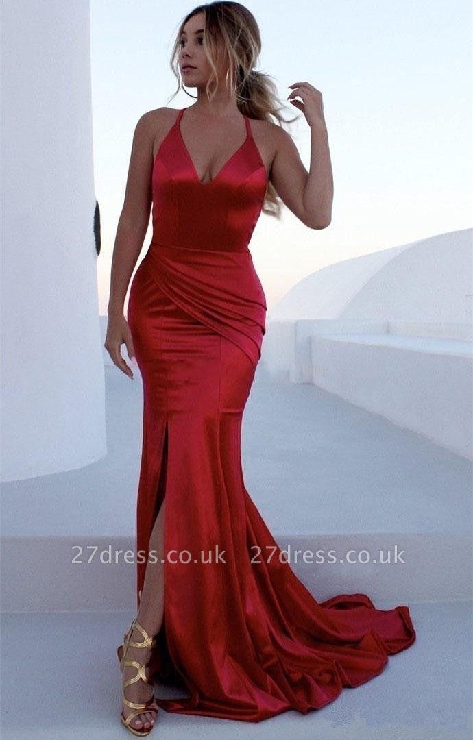Alluring V-Neck Spaghetti without Sleeve Elegant Mermaid Front Slit Prom Dress UK UKes UK