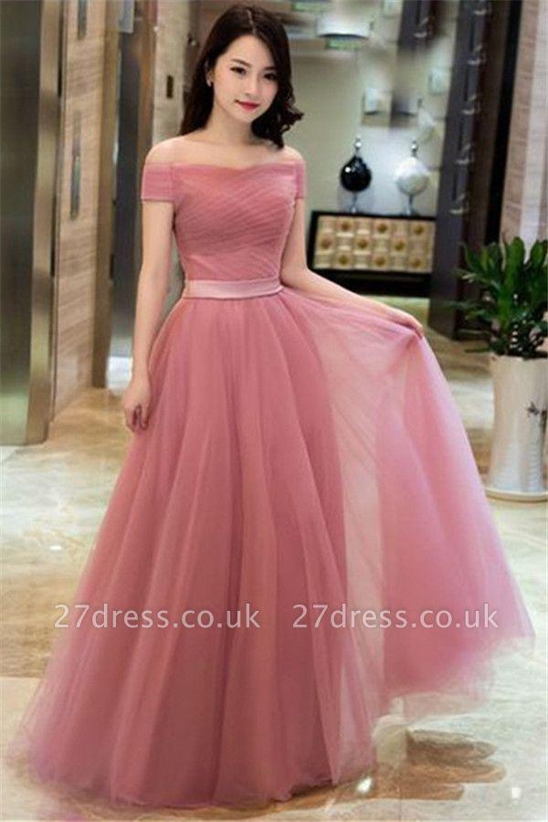 Romactic Pink Off-the-Shoulder Ruffles Prom Dress UKes UK Tulle Sleeveless Elegant Evening Dress UKes UK with Sash