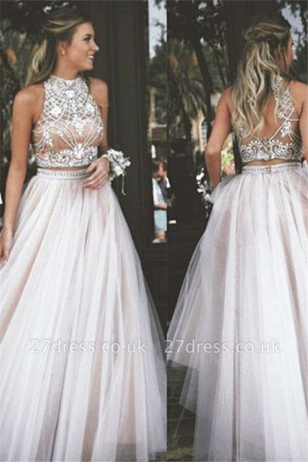 High Neck Two Pieces Prom Dress UKes UK Sleeveless Open back Crystal Elegant Evening Gowns