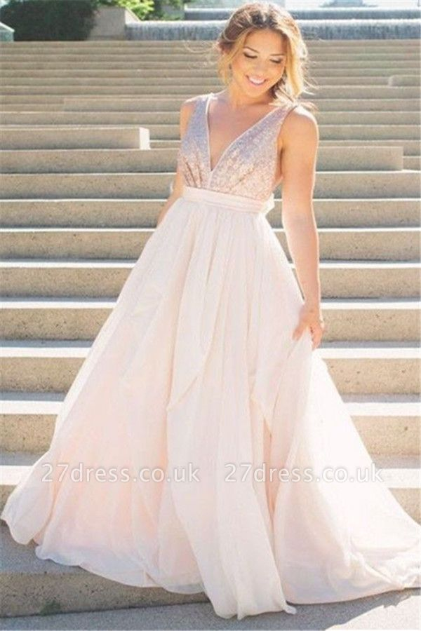 Sexy Elegant V-Neck Sequins Ruffles Prom Dress UKes UK Sleeveless Open Back Elegant Evening Dress UKes UK