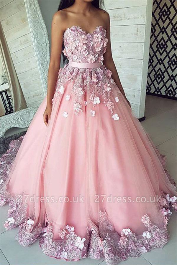 Fashion Pink Flower Sweetheart Lace Appliques Prom Dress UKes UK Ribbons Ball Gown Sleeveless Evening Dress UKes UK with Beads