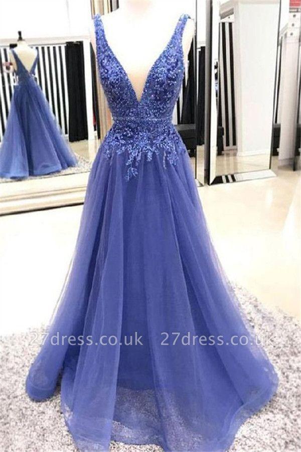 Lace Appliques Elegant V-Neck Beads Sleeveless Prom Dress UKes UK Tulle Sexy Evening Dress UKes UK