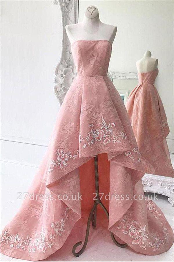 Sexy Lace Strapless Lace Appliques Prom Dress UKes UKRuffles Hi-Lo Sleeveless Evening Dress UKes UK