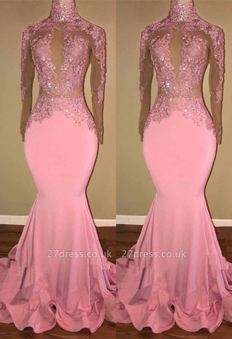 Pink Mermaid Prom Dress UK   Mermaid Long-Sleeve Evening Gowns BA7959