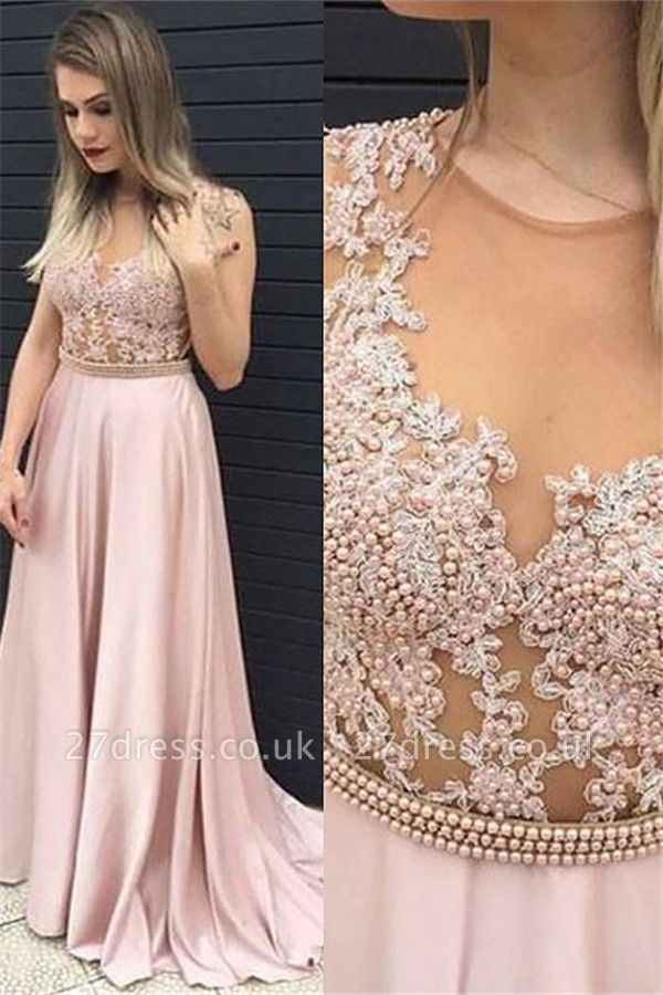 Jewel Beads Lace Appliques Prom Dress UKes UK Pink Sleeveless Tulle Evening Dress UKes UK Sexy