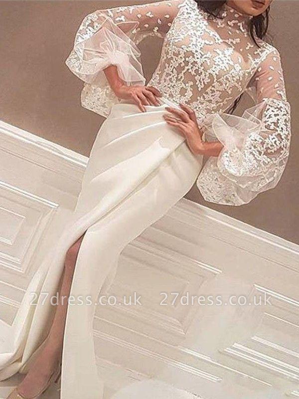 High Neck Lace Long Sleeves Prom Dress UKes UK Mermaid Ruffles Elegant Evening Dress UKes UK Sexy