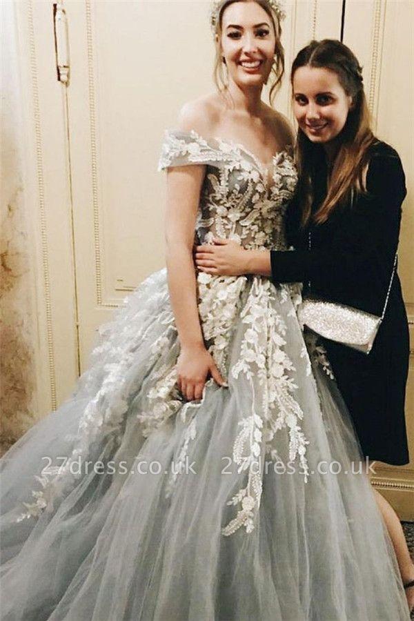 Lace Appliques Off-the-Shoulder Prom Dress UKes UK Lace up Ball Gown Sleeveless Evening Dress UKes UK