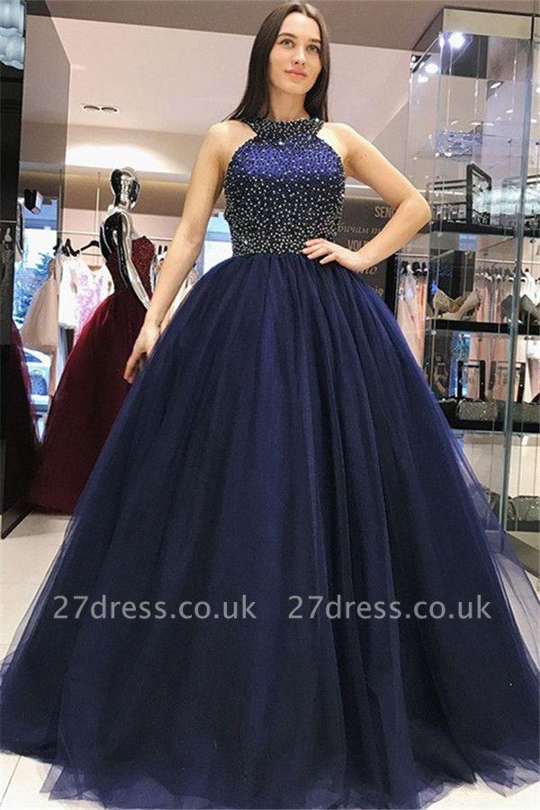 Sexy Halter Crystal Bow-knot Open Back Prom Dress UKes UK Ball Gown Sleeveless Elegant Evening Dress UKes UK